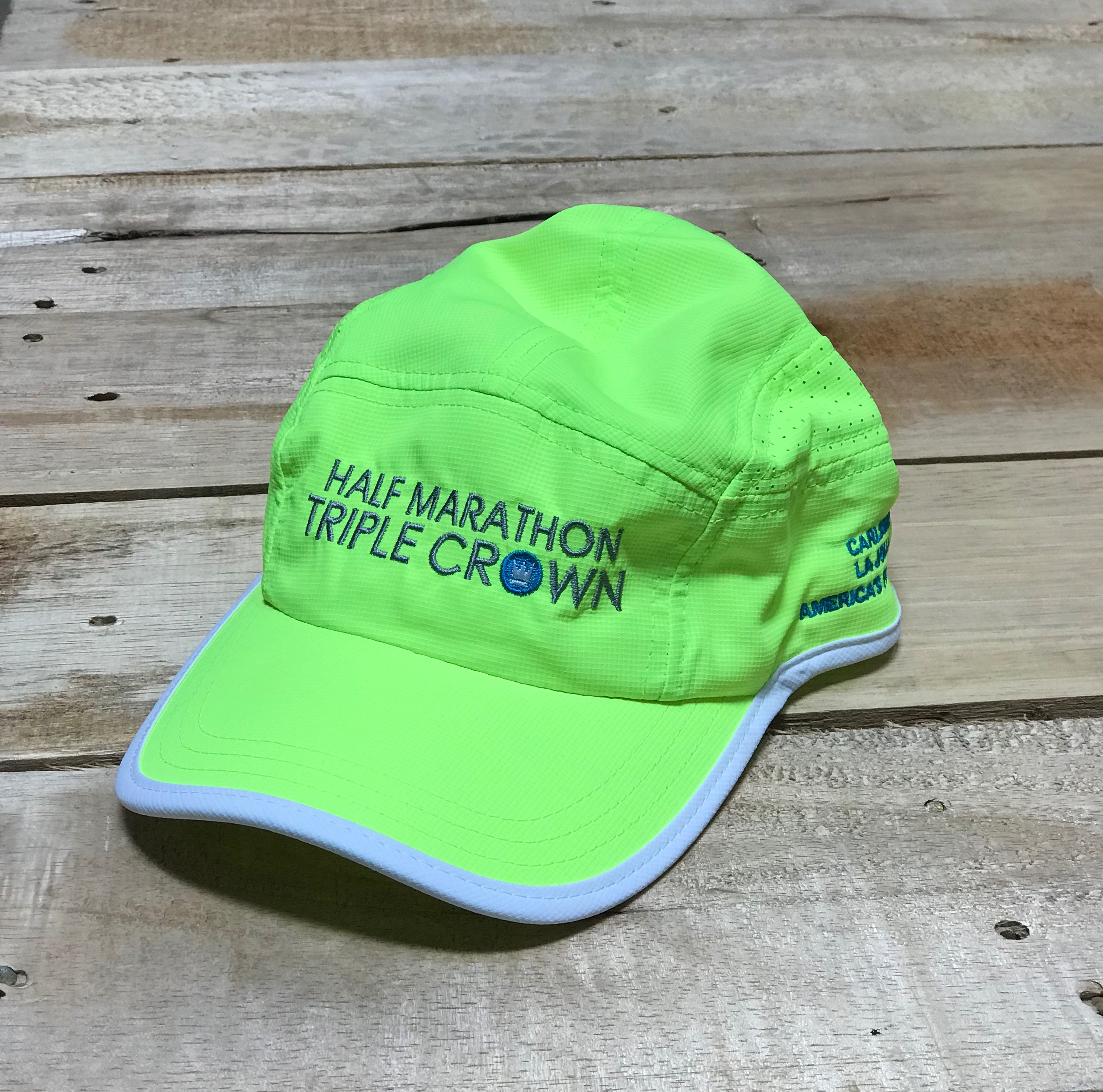Half Marathon Triple Crown Technical Running Cap – Neon  b49f82bae11